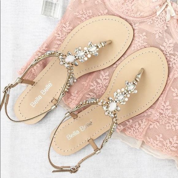 39ee2d6203ddd NWT Bella Belle LUNA Crystal Jewel Gold Sandals